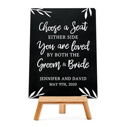Personalized Wedding Chalkboard Sign - Choose A Seat Design