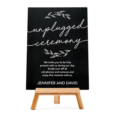 Personalized Wedding Chalkboard Sign - Unplugged Ceremony Design