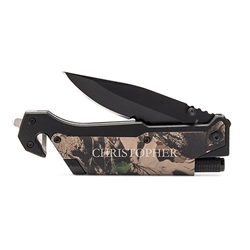 Personalized Camouflage Survival Knife - Serif Font Design