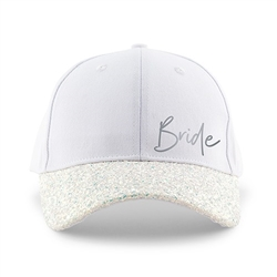 Women's Wedding Party Glitter Hats - Bride Design (2 Colors)