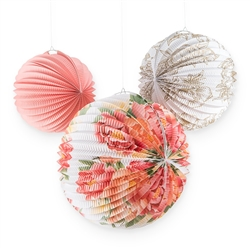 Paper Lantern Hanging Decorations - Floral - Set Of 3