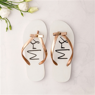 Women's White & Rose Gold Flip-Flops With Bow - Mrs