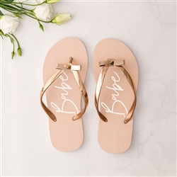 Women's Blush Pink & Rose Gold Flip-Flops With Bow - Babe