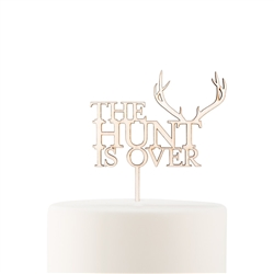 Natural Wood Cake Topper Decoration - The Hunt Is Over