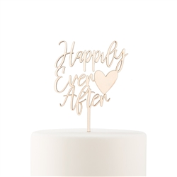 Natural Wood Cake Topper Decoration - Happily Ever After