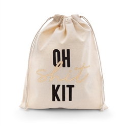 Hangover Survival Kit White Cotton Drawstring Bag - Oh Shit Kit- I Regret Nothing