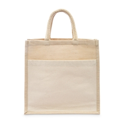 Medium Reusable Woven Jute Tote Bag With Pocket - I Regret Nothing