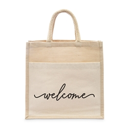 Medium Reusable Woven Jute Tote Bag With Pocket - Welcome - I Regret Nothing