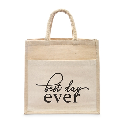 Medium Reusable Woven Jute Tote Bag With Pocket - Best Day Ever - I Regret Nothing