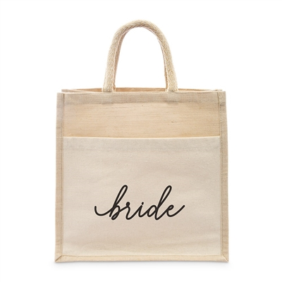 Medium Reusable Woven Jute Tote Bag With Pocket - Bride - I Regret Nothing