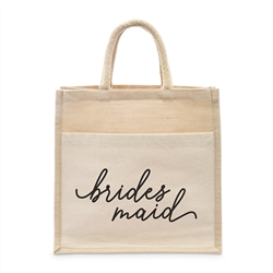 Medium Reusable Woven Jute Tote Bag With Pocket - Bridesmaid - I Regret Nothing