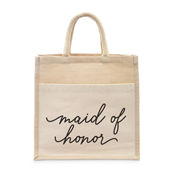 Medium Reusable Woven Jute Tote Bag With Pocket - Maid Of Honor - Bridesmaid - I Regret Nothing