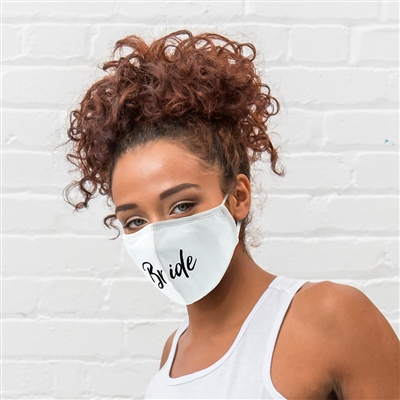 Adult Reusable, Washable 3 Ply Cloth Face Mask With Filter Pocket - Bride
