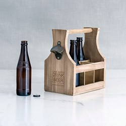Wood Beer Bottle Caddy With Opener -Save Water Drink Beer