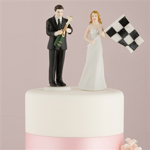 Bride at Finish Line with Victorious Groom Sports theme Mix and Match Wedding Cake toppers