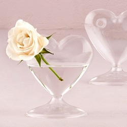 Miniature Clear Blown Glass Heart Vase (package of 4)