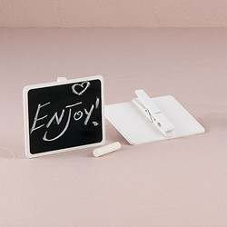 Wooden Black Board with Clip with White Wash Finish