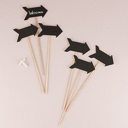 Wooden Black Board Stick in Directional Arrow Shape (pk of 6)