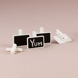 Miniature Rectangular Wooden Black Board Clip with White Wash Finish (pk of 24)