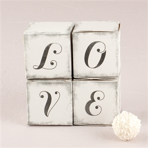 """LOVE"" Cube Favor Boxes with Charming Aged Print (Set of 10)"