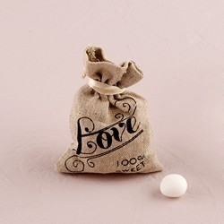 Mini Linen Drawstring Pouch with Vintage Infused Love Print (Pk of 12)