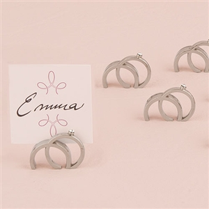 Double Rings with Crystal Place Card Holder in Shiny Silver Finish