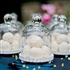 Miniature Glass Bell Jar With White Fluted Base (set of 4)