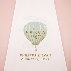 Vintage Travel Hot Air Balloon Personalized Aisle Runner