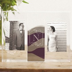"""Clearly Love"" Sand Ceremony Shadow Box with Photo Frames"