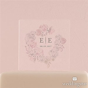 Floral Dreams Personalized Clear Acrylic Block Cake Topper - Compass