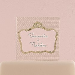 Vintage Frame Personalized Clear Acrylic Block Cake Topper