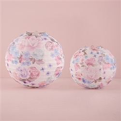 Round Paper Lantern With Vintage Floral Print