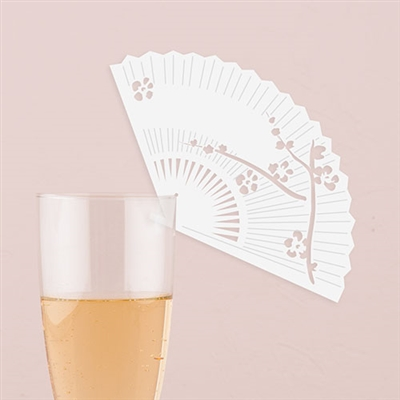 Laser Expressions Cherry Blossom Fan Die Cut Card - White (pkg of 12)