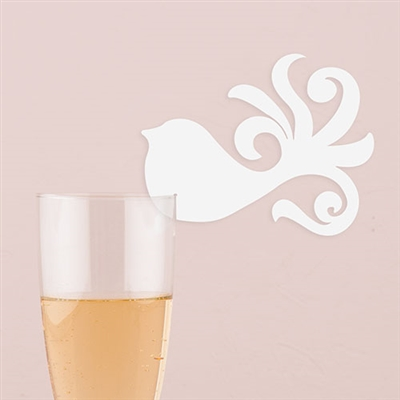 Laser Expressions Fanciful Bird Die Cut Card - White (pkg of 12)