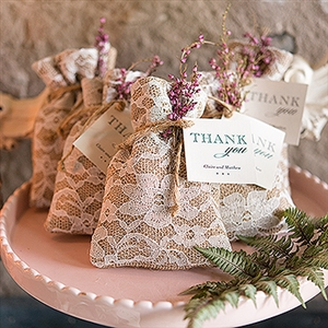 Rustic Chic Burlap And Lace Drawstring Favor Bag (package of 12)