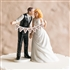 Shabby Chic Bride And Groom Porcelain Figurine Wedding Cake Topper With Pennant Sign Set