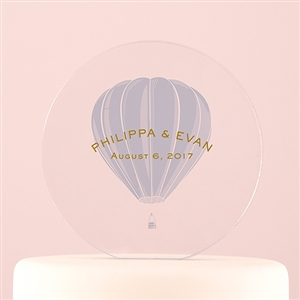 Vintage Travel Engraved Personalized Round Acrylic Block Cake Topper- Hot Air Balloon