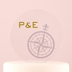 Vintage Travel Engraved Personalized Round Acrylic Block Cake Topper - Compass
