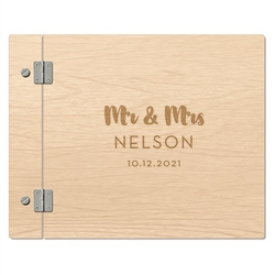 Personalized Wooden Polaroid Wedding Guest Book - Mr & Mrs Retro Design