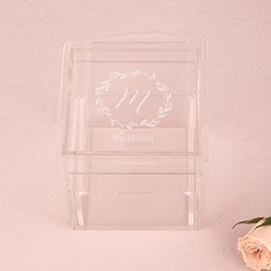 Acrylic Wedding Ring Box - Botanical Wreath Etching