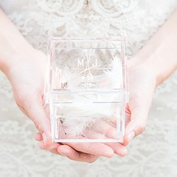 Feather Whimsy Personalized Unique Alternative Acrylic Wedding Ring Box