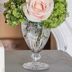 Vintage Inspired Pressed Glass Goblet In Clear