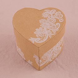 Heart Kraft Paper Favour Box With Vintage Lace Print (Package of 6)