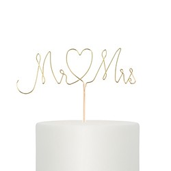 Mr. & Mrs. Twisted Wire Cake Topper -Gold
