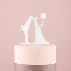 Leaning in Silhouette Acrylic Cake Topper - (Available in Black or White)