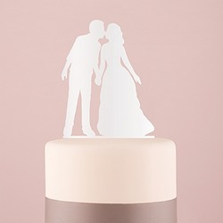 With a Kiss Silhouette Acrylic Cake Topper - (Available in Black or White)