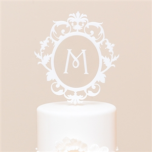 Classic Floating Monogram White Acrylic Cake Topper