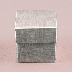 Lustrous Silver Favour Box With Lid (Package of 10)