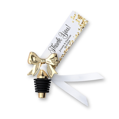 Dainty Gold Bow Bottle Stopper (Package of 6)