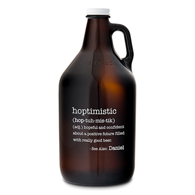 "Amber Glass Personalized Growler ""Hoptimistic"" Beer Accessory"